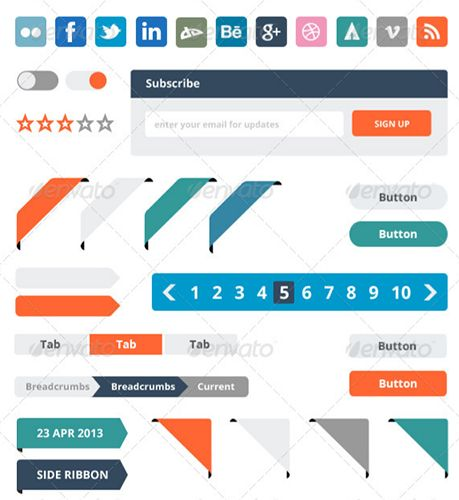 This set of flat web elements includes scalable and customisable information boxes, labels, stars, badges, ribbons, and buttons.
