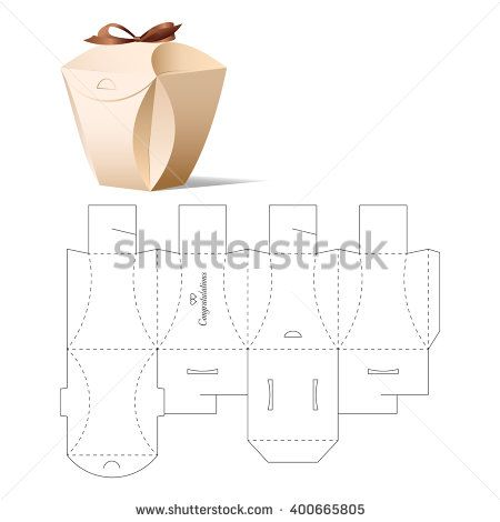 Retail Box with Blueprint Template empaque tipo regalo con curvas