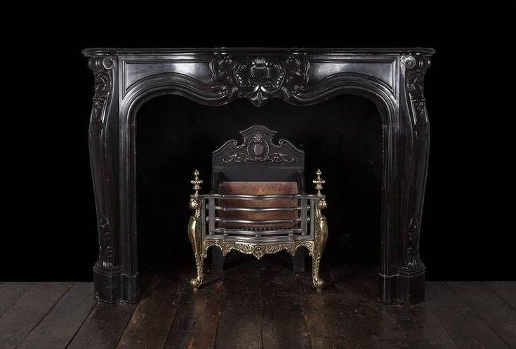 Античный Людовика XV черный мраморный камин 5