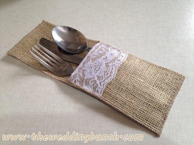 Cutlery Pocket, Hessian & Lace - NZ Wedding Decoration - New Zealand