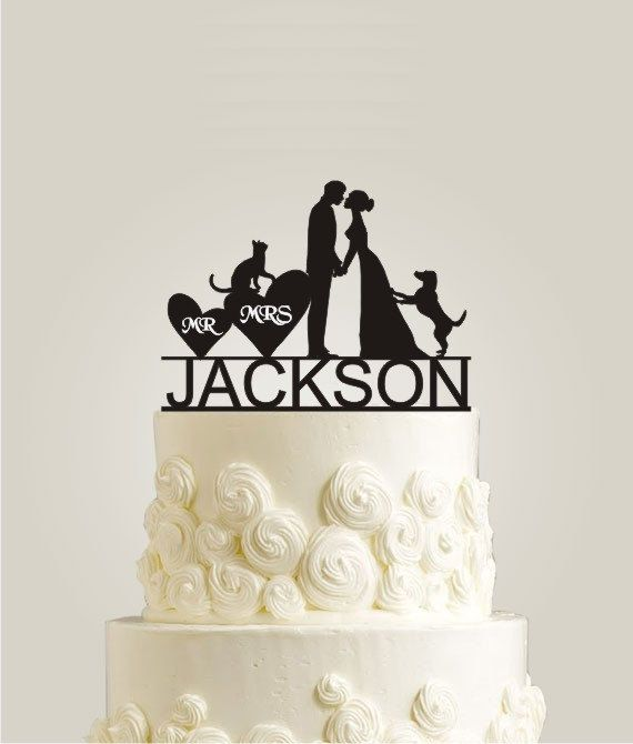 Kissing Couple Wedding Cake Topper with Cat and by LaserDesignShop