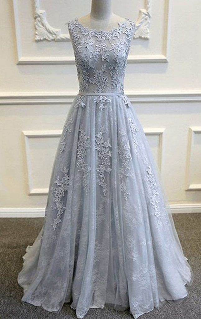 MACloth Straps A Line Lace Long Prom Dress Silver Ball Gown