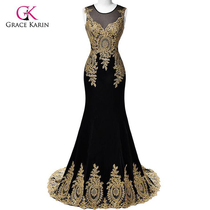Real Sample 2017 Gnade Karin Dubai Arabisch Mermaid Abendkleider Lange Schwarze Formale Abendkleider robe de soiree longue 026