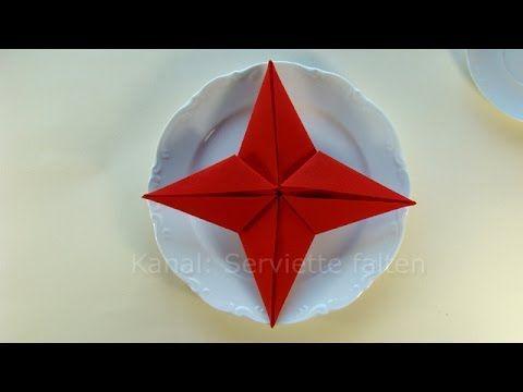 Servietten falten Anleitung: Stern für Weihnachten basteln - Weihnachtsdeko - Tischdeko - YouTube