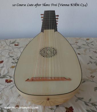 10 course renaissance lute based on Hans Frei (Vienna KHM C34) Cypress back.