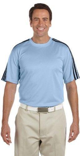 adidas A72 Unisex ClimaLite 3-Stripes Golf Tee Blank T-Shirt Argentina Blue/ Black/ Black XL