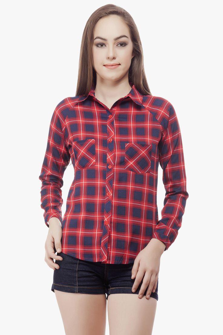 Check Print Crepe Shirt .From Miss Queen.Shop Online @ Jabong.Flipkart,Paytm,Voonik, Limeroad