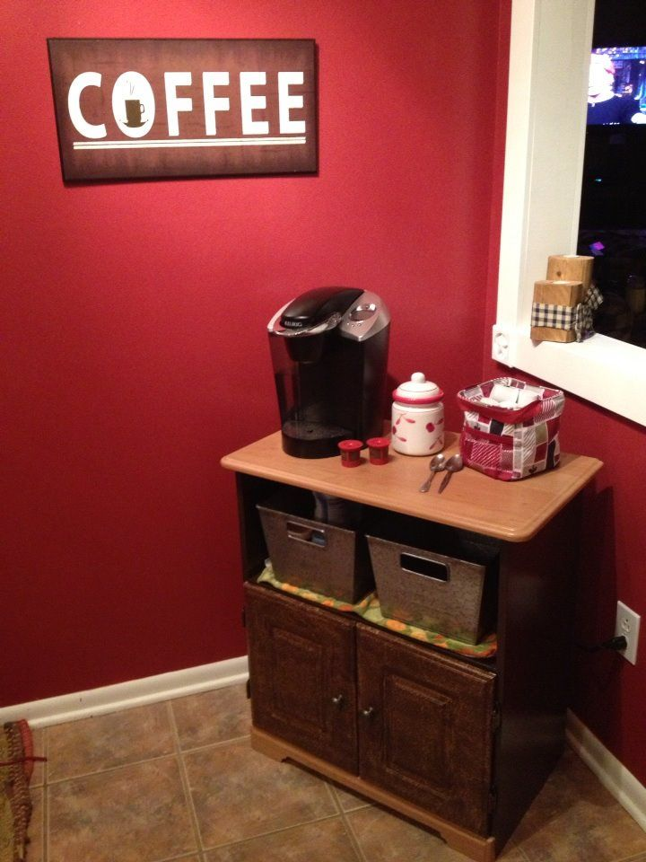 Coffee Station made from repurposed microwave stand.