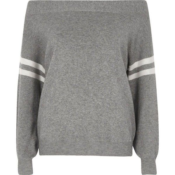 River Island Grey stripe sleeve knitted bardot top ($72) ❤ liked on Polyvore featuring tops, grey, knitted tops, knitwear, women, stripe top, gray top, knit top, striped long sleeve top and river island