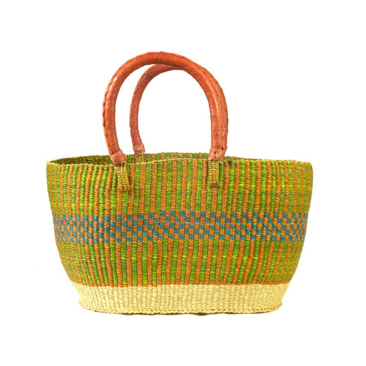 Spring market Bolga basket handwoven from elephant grass by members of Trade Aid Integrated in Ghana.