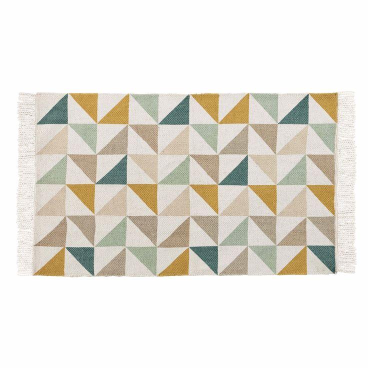 Tappeto con motivi a triangolo in cotone 60 x 100 cm GASTON