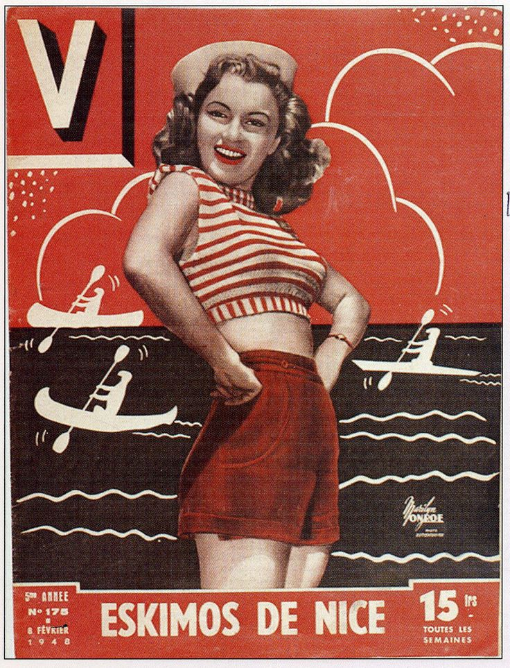 Norma Jeane/Marilyn Monroe on the cover of V magazine, February 1948, France.