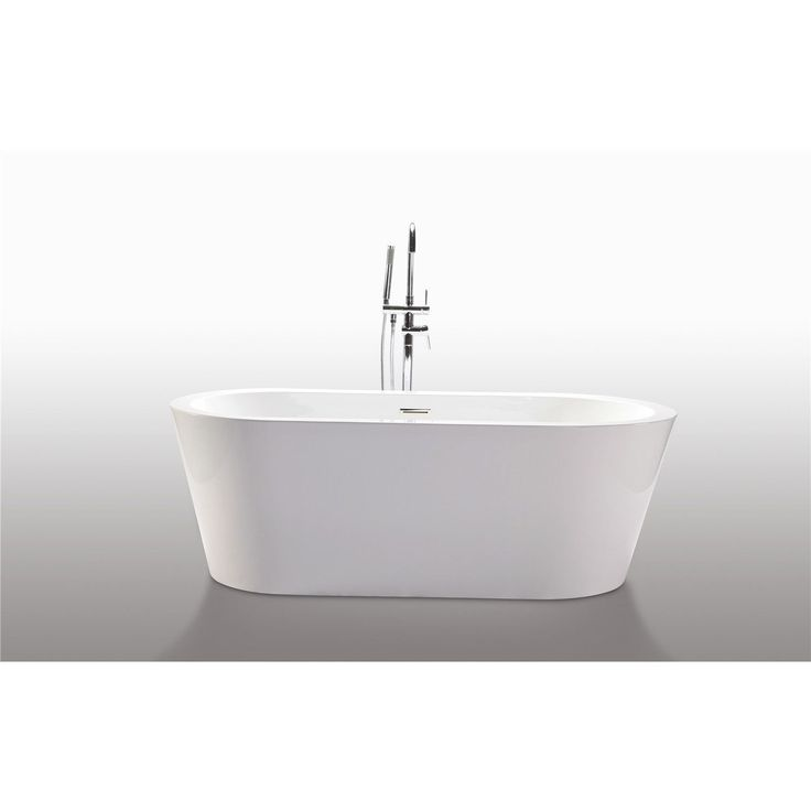 Legion Furniture White Acrylic 67 Inch Freestanding Bathtub (WE6841), Size  66 To 71 Inches