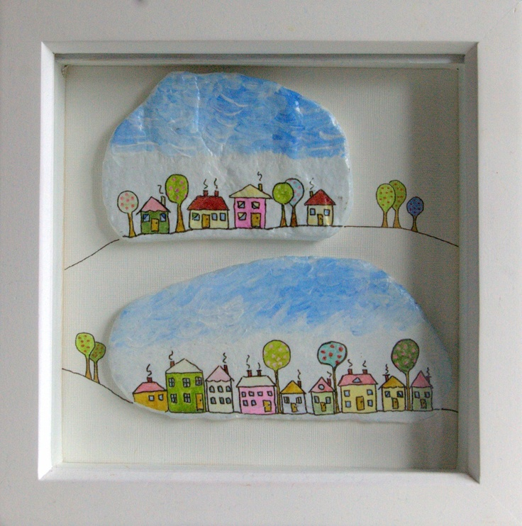 Little houses (painted on a stone)