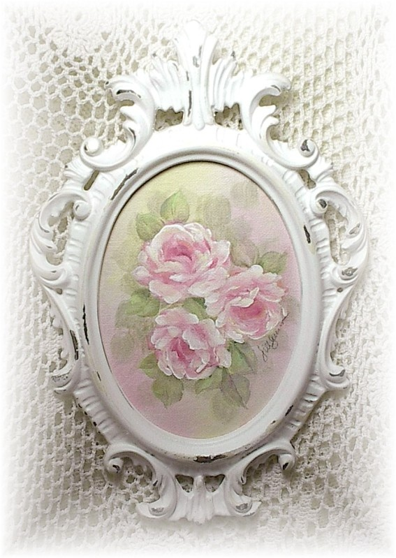 Beautiful shabby chic framed roses picture.