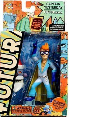 "Futurama Toynami Series 4 Action Figure Fry as Captain Yesterday by Toynami. $23.99. Figure comes with one of the six pieces to assemble the Robot Santa! Blister card packaging.. Approx. 5.5"" tall.. Captain Yesterday figure features multiple points of articulation and character-specific accessories.. Captain Yesterday figure features multiple points of articulation and character-specific accessories. Figure comes with one of the six pieces to assemble the Robot Santa!..."