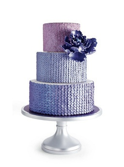 ombre wedding cake with sequins! love!  {featured in brides}