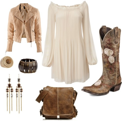 Country dress with cowboy boots