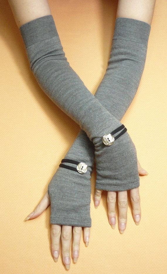 DIY inspiration. Long Grey Fingerless Gloves with Metal Buttons, Boho Armwarmers, Tattoo Covers, Ladies Sleeves