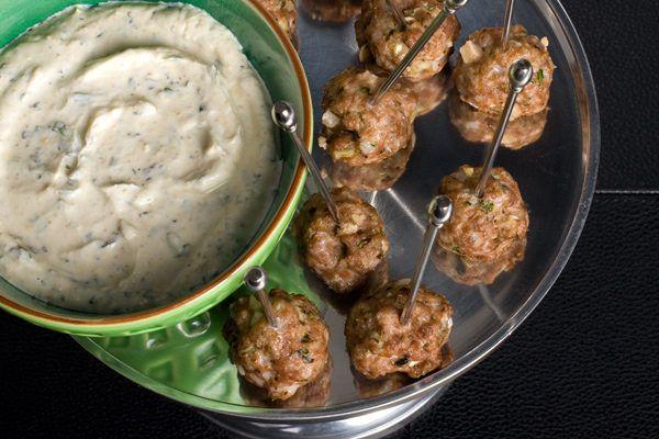 lamb meatballs with lemon-cumin yogurt