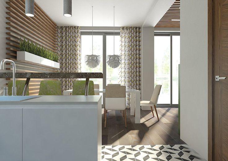 Кухня-столовая в современном стиле в загородном доме, деревянный реечный потолок. Барные стулья Rolf Benz, зеленый буфет Alf Italia, белые подвесные светильники Artichoke Louis Poulsen