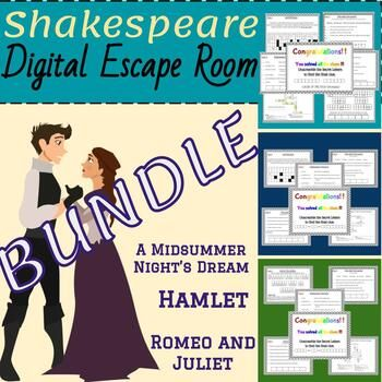 Shakespeare Digital Escape Room Game Bundle for Google Classroom