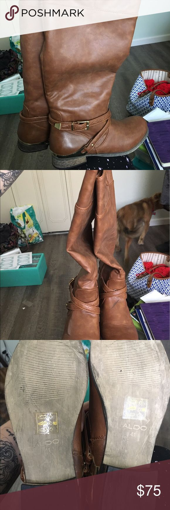 Aldo Boots - never worn - size 10 Aldo Boots - never worn - size 10 - beautiful tan color with gold accents Aldo Shoes
