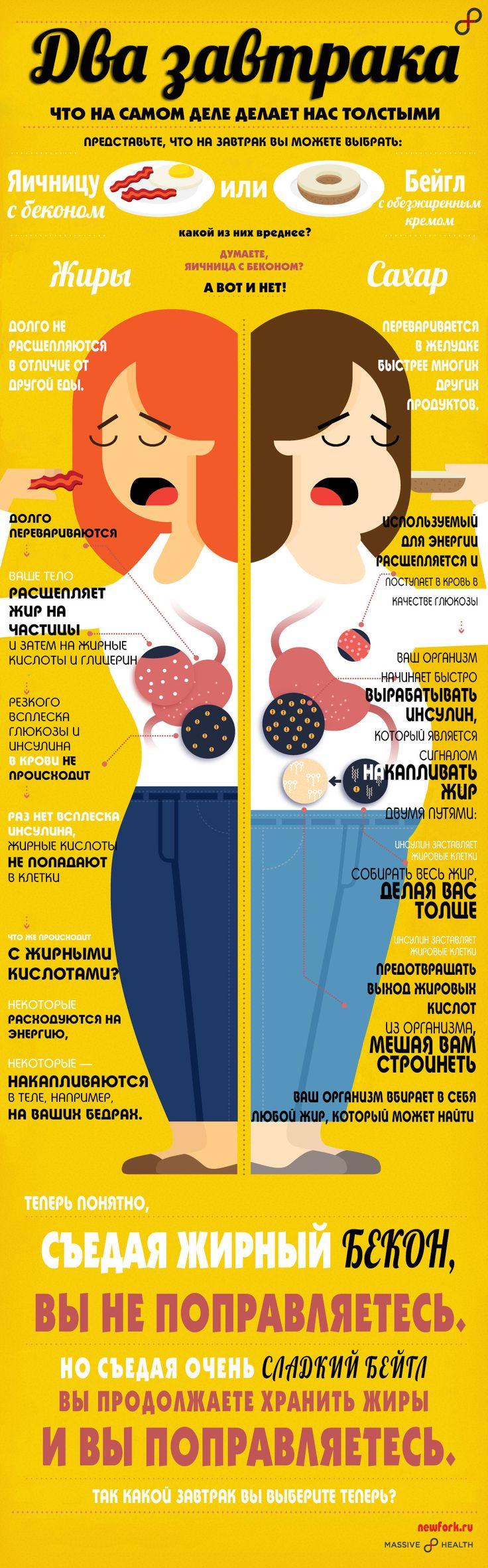 Что на самом деле делает нас толстыми? Жир или сахар? Подробнее в сравнительной инфографике о двух завтраках.#инфографика