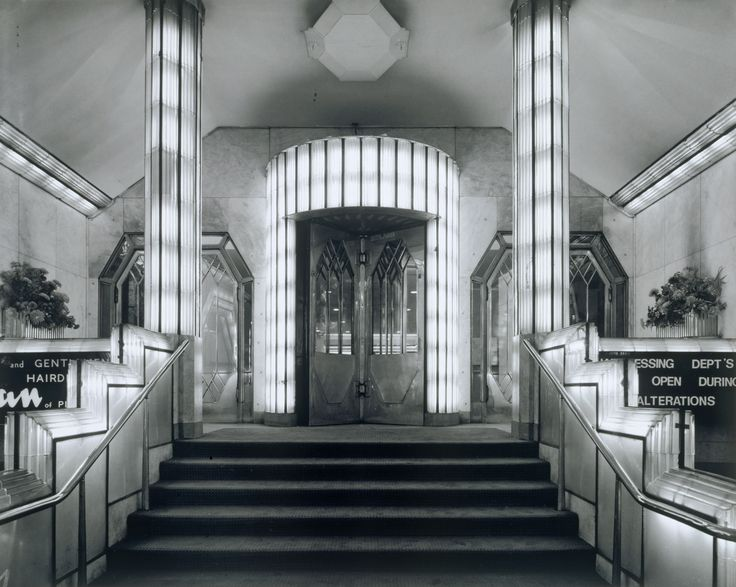 Foyer from the strand palace hotel 1930 31 glass chrome for Hotel foyer decor