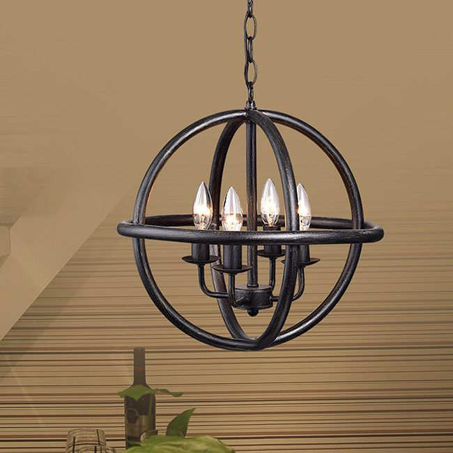 Decorate your home with this Benita 4-light Antique Black Metal Strap Globe Chandelier. This chandelier will bring some class and style that you won't find anywhere else.