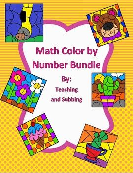 This is a growing bundle of my color by number worksheets. Currently it includes all of the individual files: Area of Circels, Area of Trapezoids, Percents, Proportions, Two Step Equations, and Inequalities.