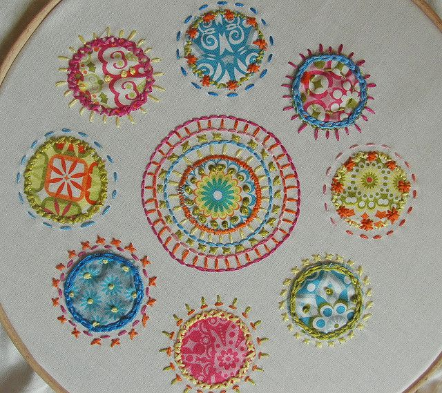 Colourful embroidery with fabric - this would be beyond great on jeans for kids.
