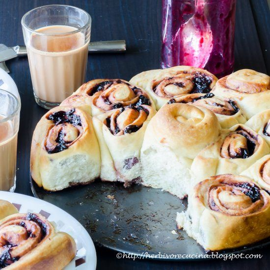 How about a breakfast bread swirled with home-made cherry jam? Fresh fruit jams taste even better in such sweet breads!