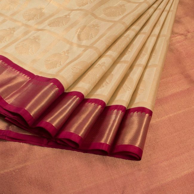 Subhashini Cream Handwoven Korvai Kanjivaram Silk Saree With Checks & Iruthalaipakshi Motifs 10008429 - profile - AVISHYA.COM