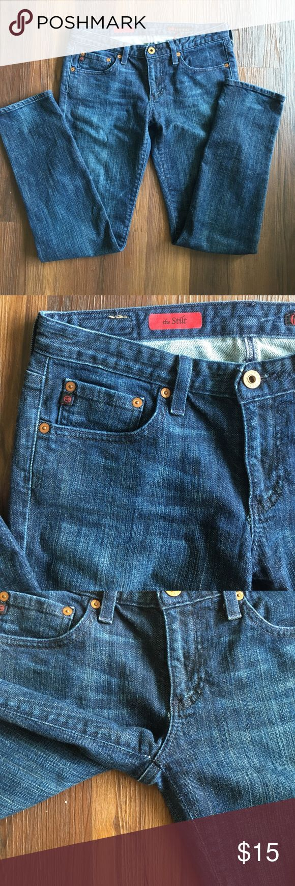 🔥Sale 🔥AG jeans the Stilt Very classy AG jeans : deep blue,  looks like new and hardware have not been scratched . Size 28R, inseam 30 inches, rise 7.5 inches. Made in U.S Bundle 2 items  and get 15% off Ag Adriano Goldschmied Jeans Straight Leg