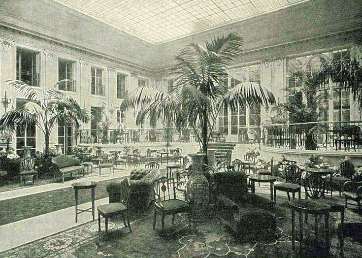 "The Palm Court of the Carlton hotel in 1899, captioned in The Illustrated London News as ""A Fashionable Resort of Today"""