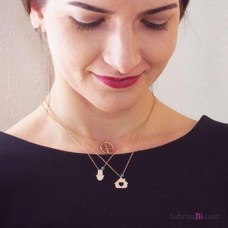 Collana corta argento 925 bagno oro rosa Mano di Fatima Hamsa brillanti