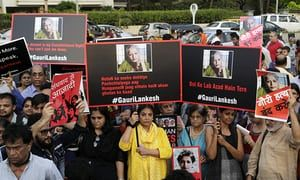 Protest in Mumbai, India, 6 September 2017, condemning the killing of journalist Gauri Lankesh.