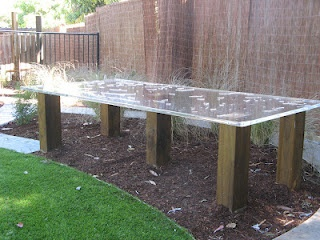 Tessa Rose Natural Playspaces: Previous projects.  Clear multi-purpose table for sensory ie. finger painting.