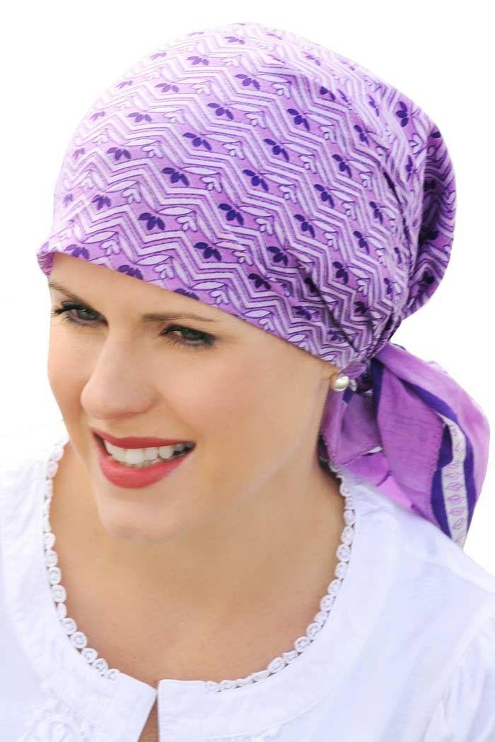 soft head scarf for cancer patients - 100% cotton woodblock scarf in santiago swirl purple