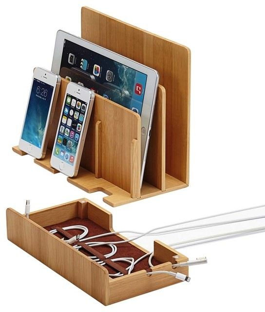 Bamboo Multi-Charging Station, With Usb Power Strip modern-charging-stations