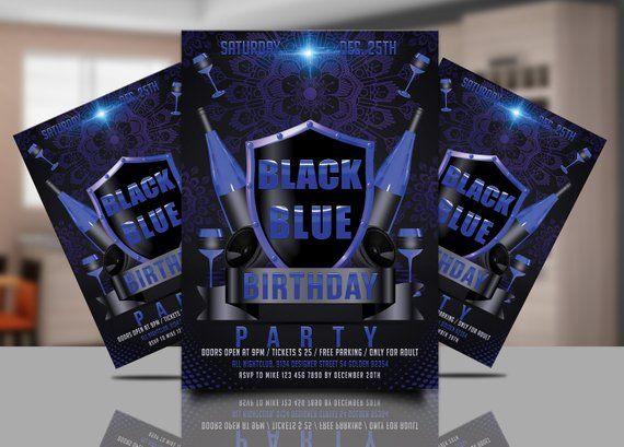 Blue Birthday Party Invitation Blue Birthday Poster Sweet 16