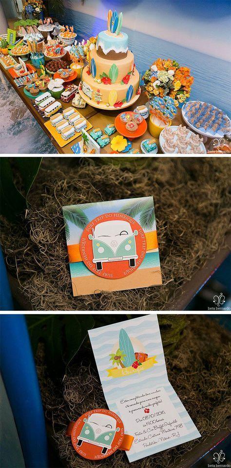 Festa infantil tema criativo Surf trip praia Luli Ateliê de Festas Blog Festa de menino