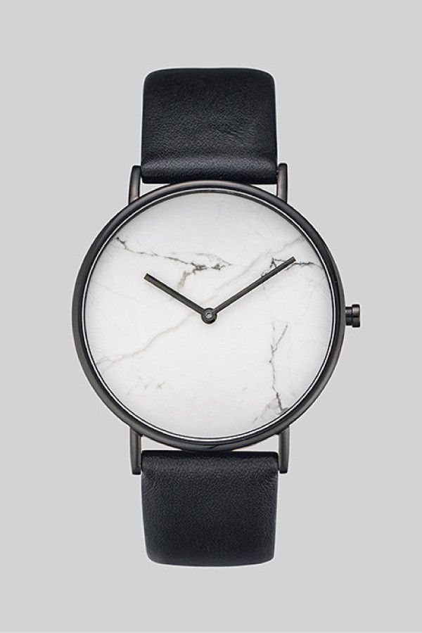 The Horse Stone Watch White Stone/Black Leather – Parc