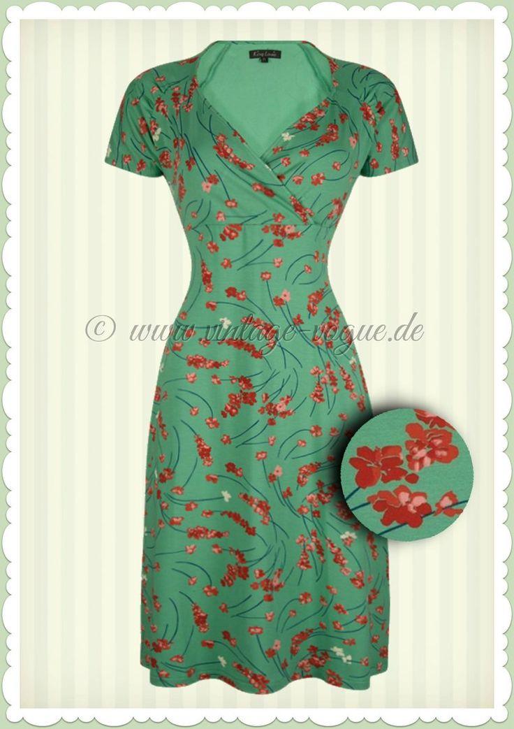 King Louie 60er Jahre Retro Blumen Kleid - Gina Fleurette - Opal Grün Rot
