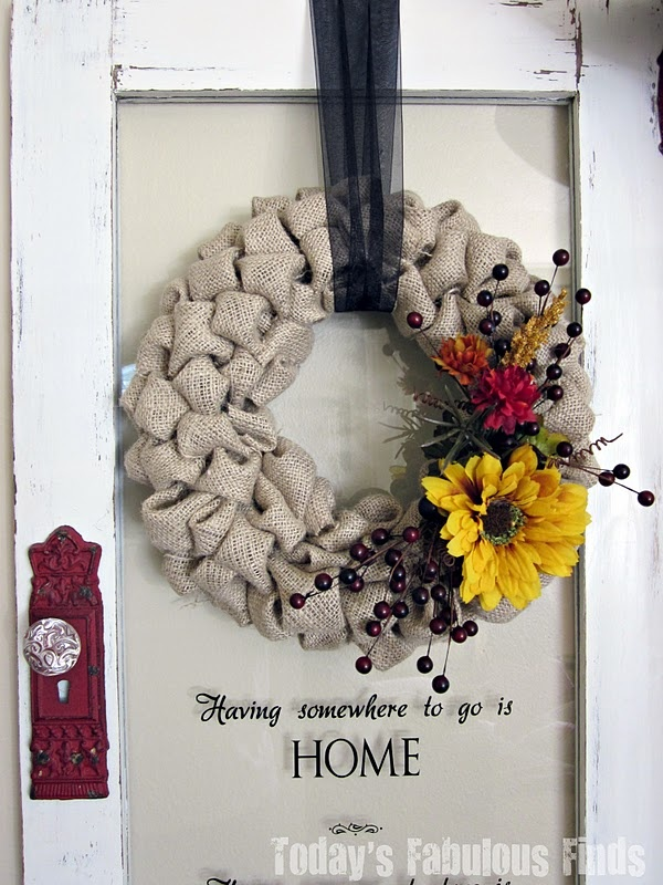 Fall Burlap Wreath - this is very pretty -- I like the embellishments!  :): Christmas Wreaths, Burlap Bubbles Wreaths, Fabulous Finding, Fall Burlap Wreaths, Fall Decor, Doors Decor, Today Fabulous, Fall Wreaths, Old Doors