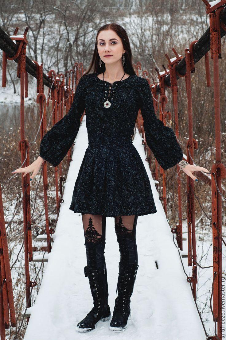 Платье из хлопка с принтом пейсли - черный, пейсли, платье бохо, бохо-стиль
