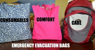 Emergency Evacuation Bags. Have these supplies packed up and ready to go in case you need to evacuate for any reason.