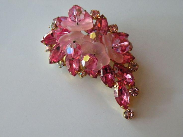 D & E Juliana Pink Rose Frosted petals flower brooch, pin.   | eBay