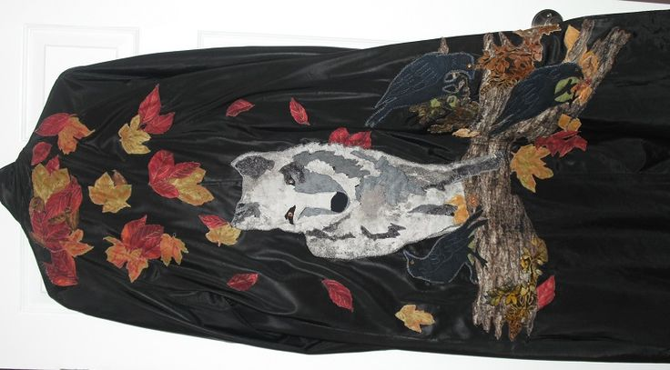 Collage wolf, crows on coat, by Chris Allaway